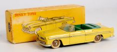 Lot 2056 - French Dinky Toys, 24A Chrysler New Yorker, lemon yellow body with green seats, silver detailing,