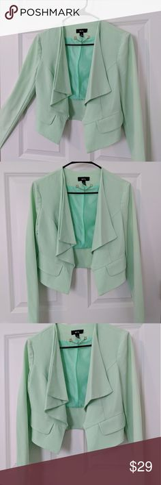 NWT Citrus Mint Green Blazer Never worn. Size medium for juniors. Lightweight, great for all seasons. Spice up a business meeting with a beautiful light citrus mint green blazer that will go with black, brown, or tan! BCX Jackets & Coats Blazers