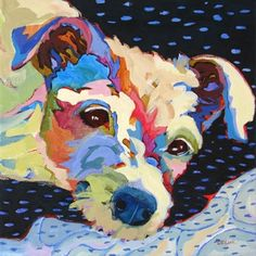 Sweet Suzy, contemporary portrait painting of a little white dog, painting by artist Carolee Clark