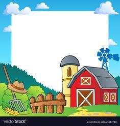 Farm theme frame 1 vector image on VectorStock Farm Animal Crafts, Bird Crafts, Pamphlet Design, Airplane Crafts, Baby Farm Animals, Powerpoint Background Design, Alphabet Crafts, Farm Birthday, Borders And Frames