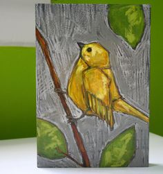 yellow bird on branch painting original a2n2koon mixed by a2n2koon