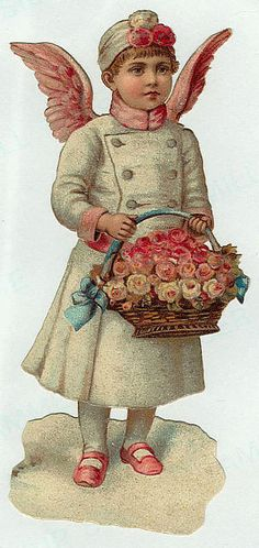 Girl angel holding basket of pink flowers