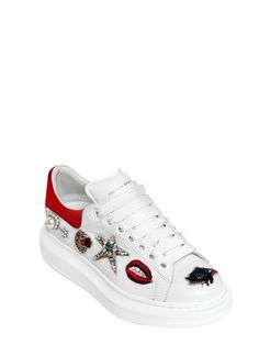 ALEXANDER MCQUEEN - 40MM SWAROVSKI CHARMS LEATHER SNEAKERS - LUISAVIAROMA - LUXURY SHOPPING WORLDWIDE SHIPPING - FLORENCE