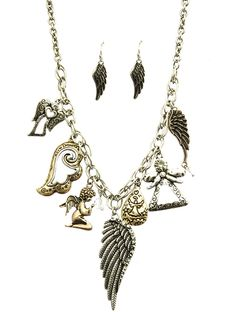 Arabella Ave by Tina  http://www.arabellaave.com/?a_aid=TinaGowans  AGED FINISH METAL CHUNKY CHARM NECKLACE AND EARRING SET $16.00 - ships free through Sunday and save 10% with coupon code TINAG10 18 INCH LONG HAMMERED  CRYSTAL STONE  HOMAICA  ANGEL WINGS  PRAYER  DOUBLE LINK CHAIN  FISH HOOK  2 1/2 INCH DROP  NICKEL AND LEAD COMPLIANT