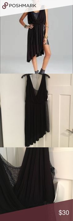 Free People Eleanor Dress.  Black Shimmer. Large Pretty draped dress with under layer of a shimmery navy gold.  NWT.  Size Large.  Great for holidays! Free People Dresses