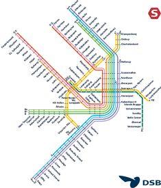 Nice metro map of Copenhagen, Denmark. This will come in handy one day. Copenhagen Travel, Copenhagen Denmark, Europa Tour, Denmark Travel, Map Of Denmark, Train Map, Baltic Cruise, Metro Map, Subway Map