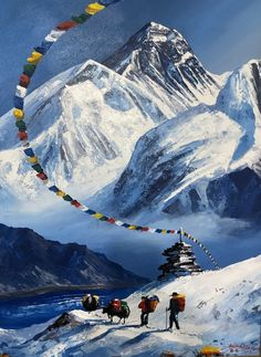 Discover recipes, home ideas, style inspiration and other ideas to try. Paintings I Love, Original Paintings, World Famous Painters, Everest Mountain, Nepal Flag, Mount Everest Base Camp, Monte Everest, Nepal Art, Mountain Drawing