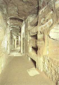 Catacombs Rome Italy along The Appian Way. It's darn creepy down there and you really don't want to go if you're claustrophobic.