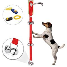 Dog Doorbell for Potty Training Puppy  Doggie Doorbell with Extra Loud Bells for Housetraining Housebreaking Train  Included Potty Training Guide  Free Gift Training Clicker Red Style Set of 1 >>> See this great product.