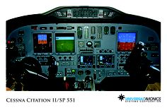"Universal Avionics: Cessna Citation II/SP 551 - (1) Display Suite: 3 EFI-890R 8.9"" Flat Panel Displays; (2) Situational Awareness: 1 Vision-1 Synthetic Vision System, 1 Application Server Unit (ASU) for Jeppesen charts, checklists, weather and E-DOCS"