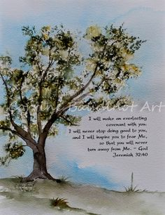 Oak tree watercolor painting. Green gold and brown with by ssbaud