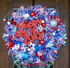 HAPPY FOURTH of JULY Wreath by decoglitz on Etsy