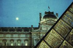 Fine Art photograph Louvre, Paris, France with moon - vintage grunge look 8x12 8x10 $25.00