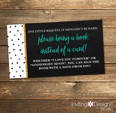 Book Insert Card, Bring a Book, Baby Shower, Oh baby, Polka Dots Gold Heart Black, White, Teal, Gold Glitter Chalkboard (PRINTABLE FILE)