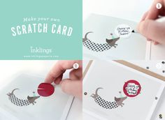 Make your own Scratchoff Greeting Card! SO CUTE // Party Pup by InklingsPaperie on Etsy How it works: 1. Write in your own message. 2. Cover it with the sticker provided. 3. Scratch to reveal your surprise!