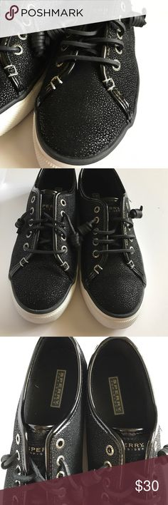 Black Sperry Top sider Black sperrys with sparkly detail all over. Super cute but was a little big for me. Size is 8 but fits more of an 8-8.5. It would just slide off my foot a bit. Only worn once. Sperry Top-Sider Shoes Sneakers
