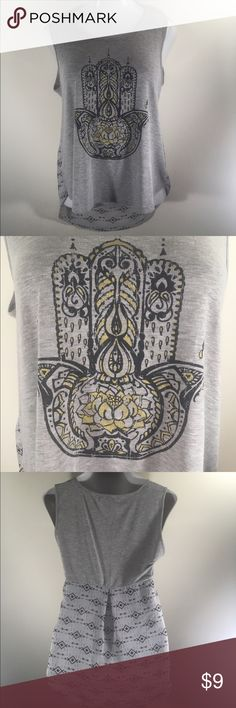 High Low Buddha Hand Sleeveless Shirt So cute! This high low shirt features a sheer fabric with Aztec print on lower portion of back. Gently used - no flaws found upon inspection and photographing. About a Girl Tops Tank Tops