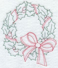 Holly Wreath (Redwork)