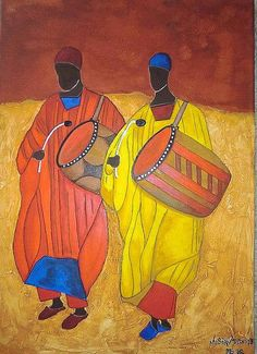 """""""NUBIAN DRUMS"""" - Acrylic and structure medium on Canvas, 50x70 cm - For Sale!"""