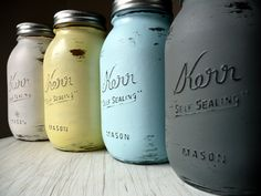 Hand Painted and Distressed Shabby Chic Mason Jars by BeachBlues, $20.00