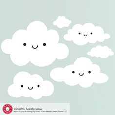 Happy Cloud Wall Decal Stickers Baby Nursery Kids