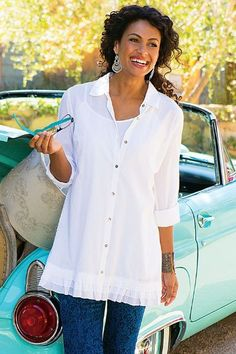 Perfect To Layer Shirt & Cami - Crinkled Cotton Voile Shirt With Matching Camisole | Soft Surroundings