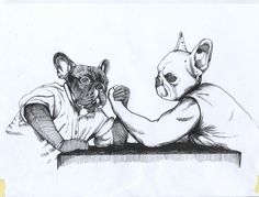 Arm Wrestling French Bulldogs / Original by TheDogPaintersStudio