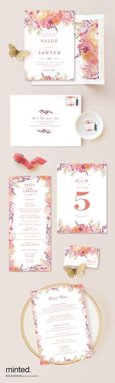 Minted's Big Bloom wedding stationary print is beautiful for any wedding style! http://www.minted.com/product/wedding-invitations/MIN-YOL-INV/big-blooms?utm_medium=social&utm_source=pinterest&utm_sub=stylemepretty&utm_campaign=SMPFPB1216&utm_content=big_blooms Artist: Grace Kreinbrink