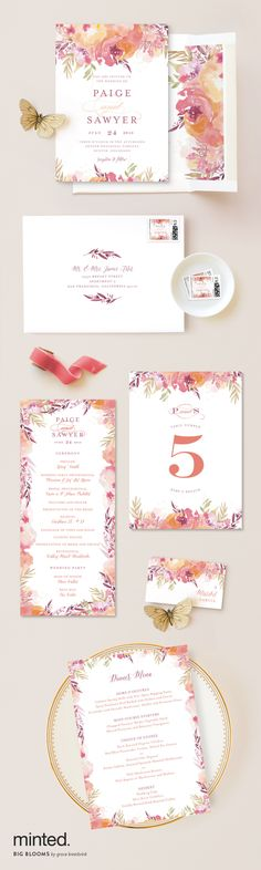 Minted's Big Bloom wedding stationary print is beautiful for any wedding style! http://www.minted.com/product/wedding-invitations/MIN-YOL-INV/big-blooms?utm_medium=social&utm_source=pinterest&utm_sub=stylemepretty&utm_campaign=SMPFPB1216&utm_content=big_blooms Artist: Grace Kreinbrink