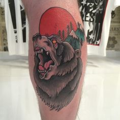 Artist: Woodfarm Tattoo Subject: Bear Style: Neo-Trad, Neo Traditional Tags: Leg, Epic, Awesome, Gnarly Design Cheltenham's prestigious tattoo studio TOKYOTATTOO