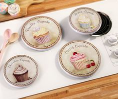 Cupcake Kitchen Decorative Stove-top Burner Cover Set