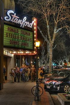 Stanford Theatre in downtown Palo Alto shows classic films made between the… Places In California, California Dreamin', Road Trip Usa, Usa Roadtrip, Places To Travel, Places To Visit, Stanford Law, Stanford University, Menlo Park