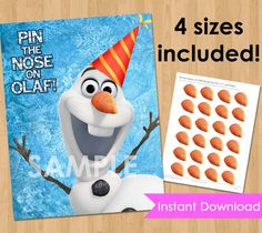 Disney Frozen Birthday Party Printable - INSTANT DOWNLOAD Pin the Nose on Olaf Frozen Game- Frozen Birthday Game - Frozen Party Decorations by KidsPartyPrintables on Etsy https://www.etsy.com/listing/186335574/disney-frozen-birthday-party-printable