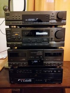 Sony vintage electronic stack.