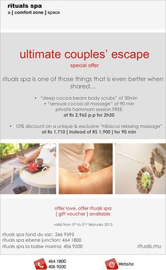 rituals spa - ultimate escape. Info: 464 1800 / 406 9200