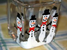 DIY Five Finger Snowman Candle Holder ~ cute for the kids to make... grandparents would love this! (Austin)