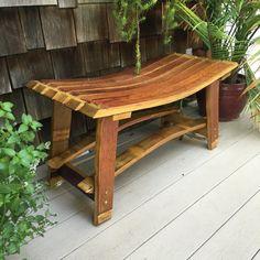 Wine Barrel Bench by SheaOakWorks on Etsy