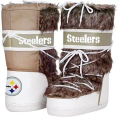 Cuce Shoes Pittsburgh Steelers Ladies The Aficionado Boots - Tan/White