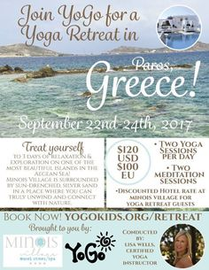WE want to go to Greece! If you need custom graphics think Southern View Media - and check out this great upcoming #yoga  retreat from YoGo:  #banners #fliers #businesscards #websites #graphics #Adobe