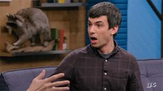 Nathan Fielder pretending to be shocked gif
