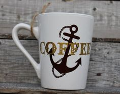 16 Ounce Coffee Mug COFFEE Anchor Gold Deer by threepaintedarrows