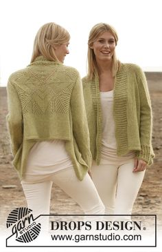 DROPS square knitted jacket with lace pattern on the back, cuffs and front bands - Free Pattern
