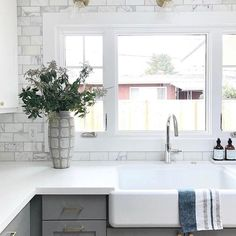 Today's pro tip: Make sure everything in your kitchen has a home. Whatever you take out put it back in its place. I have found this to be immensely helpful in keeping my kitchen counters sparkly and clear Gorgeous via @studiomcgee #kitchengoals