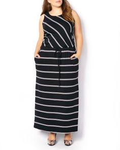 Get ready for fun in the sun with this stylish plus-size dress! With its trendy striped print, it features a sleeveless design, scoop neck, maxi-length and a cord at waist. Dress it up with heels! Plus Size Sundress, Plus Size Maxi Dresses, Plus Size Outfits, Dresses For Work, Midi Dresses, Stylish Dresses, Trendy Outfits, Trendy Fashion, Fashion Styles