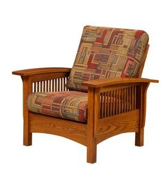 Amish Mission Morris Lounge Chair with Adjustable Back Lean back and enjoy the comfort and the beautiful look of wood furniture for living room. Amish made and custom built in choice of wood, stain and upholstery. #livingroom #loungechairs Wood Furniture, Living Room Furniture, Morris Chair, Living Room Seating, Wood Stain, Best Foundation, Mortise And Tenon, Wood Construction, Amish
