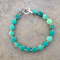 Green Moss Opal Bracelet with Hill Tribe by EastVillageJewelry