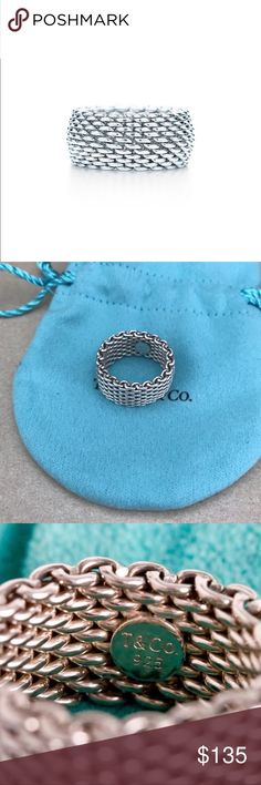 Tiffany & Co Mesh Ring Authentic, Size 7, Sterling Silver, comes with pouch, very good condition Tiffany & Co. Jewelry Rings