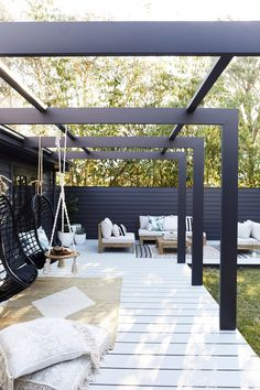 This Three Birds alfresco area is an entertainer's dream back patio furniture, outdoor seating area, outdoor living room furniture and hanging chair Pergola Patio, Backyard Patio, Modern Pergola, Pergola Kits, Black Pergola, Small Pergola, Modern Patio, Cheap Pergola, Pergola Shade