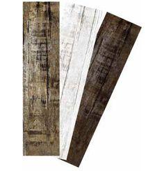 Linha de porcelanato Villaggio da Biancogres. Simula madeiras de demolição. Disponível nas cores Bianco, Castano e Noce, nos formatos 26 x 106 cm (régua) e 30 x 30 cm (placa).