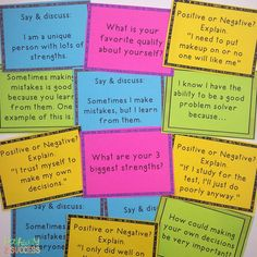 So important to focus on self-esteem and positive thinking skills. Great for small groups, class meetings, and advisory periods. Positive Self Esteem, Positive Self Talk, Positive Discipline, Coping Skills, Social Skills, Social Work, Life Skills, Self Esteem Examples, Elementary School Counseling